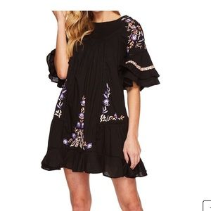 Free People mini shift dress with embroidery
